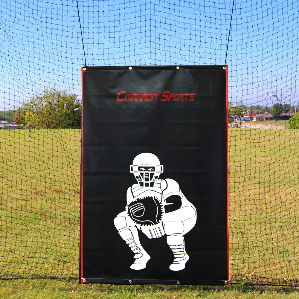 Packaging or Promotional image for Cimarron 4'' x 6'' Vinyl Backstop with Catcher Image
