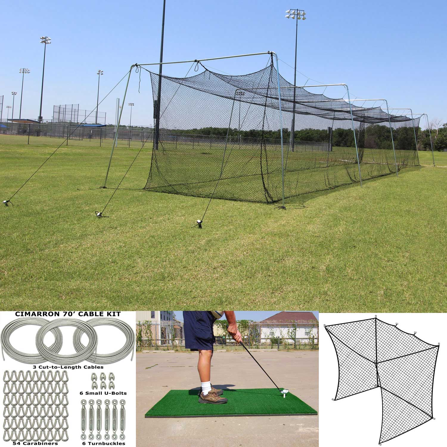 Packaging or Promotional image for 70x14x12 Batting Cage, Cable Kit, Golf Net Insert, Golf Mat