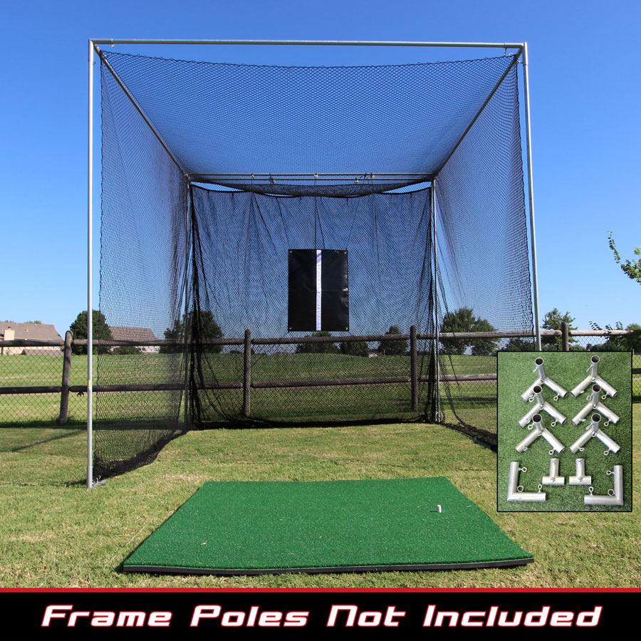 Packaging or Promotional image for 10x10x10 Masters Golf Net w/Premier Golf Mat