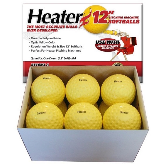 Heater 12 Dimpled Softballs - Yellow