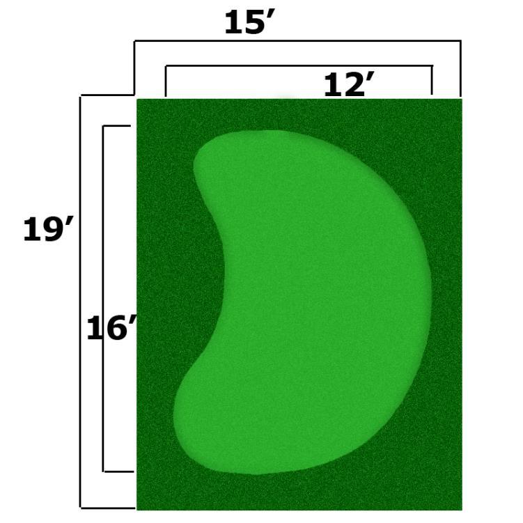 15' x 19' Complete Par Saver Putting Green w/ Symbior Fringe (Kidney)
