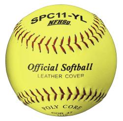 Thumbnail Image 2 for Official League Optic Yellow Leather 11 Softball Dozen