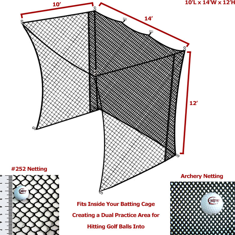 Packaging or Promotional image for Cimarron 10' x 14' x 12' Golf Net Insert with Archery Back