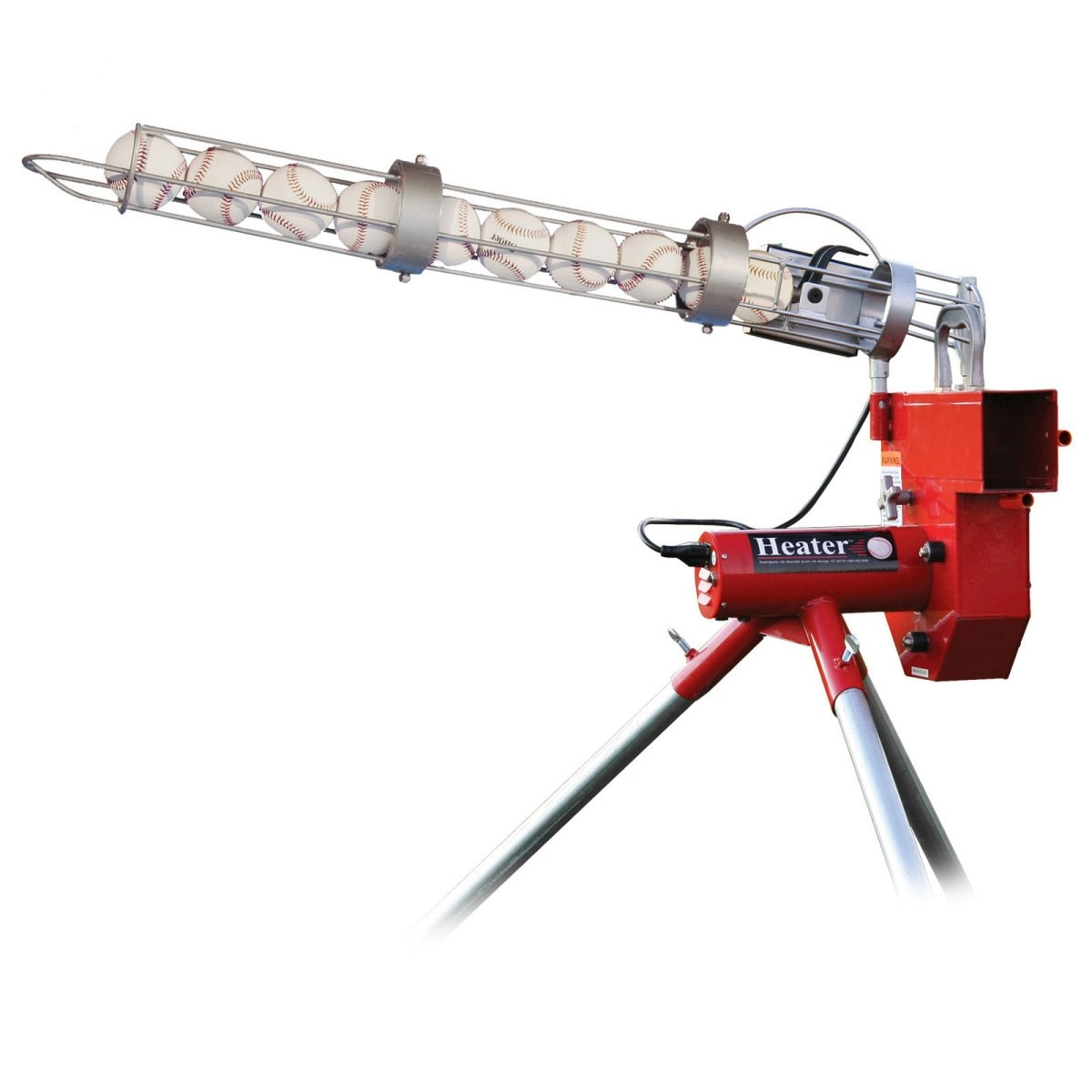 Packaging or Promotional image for Heater Baseball Pitching Machine with Ball Feeder