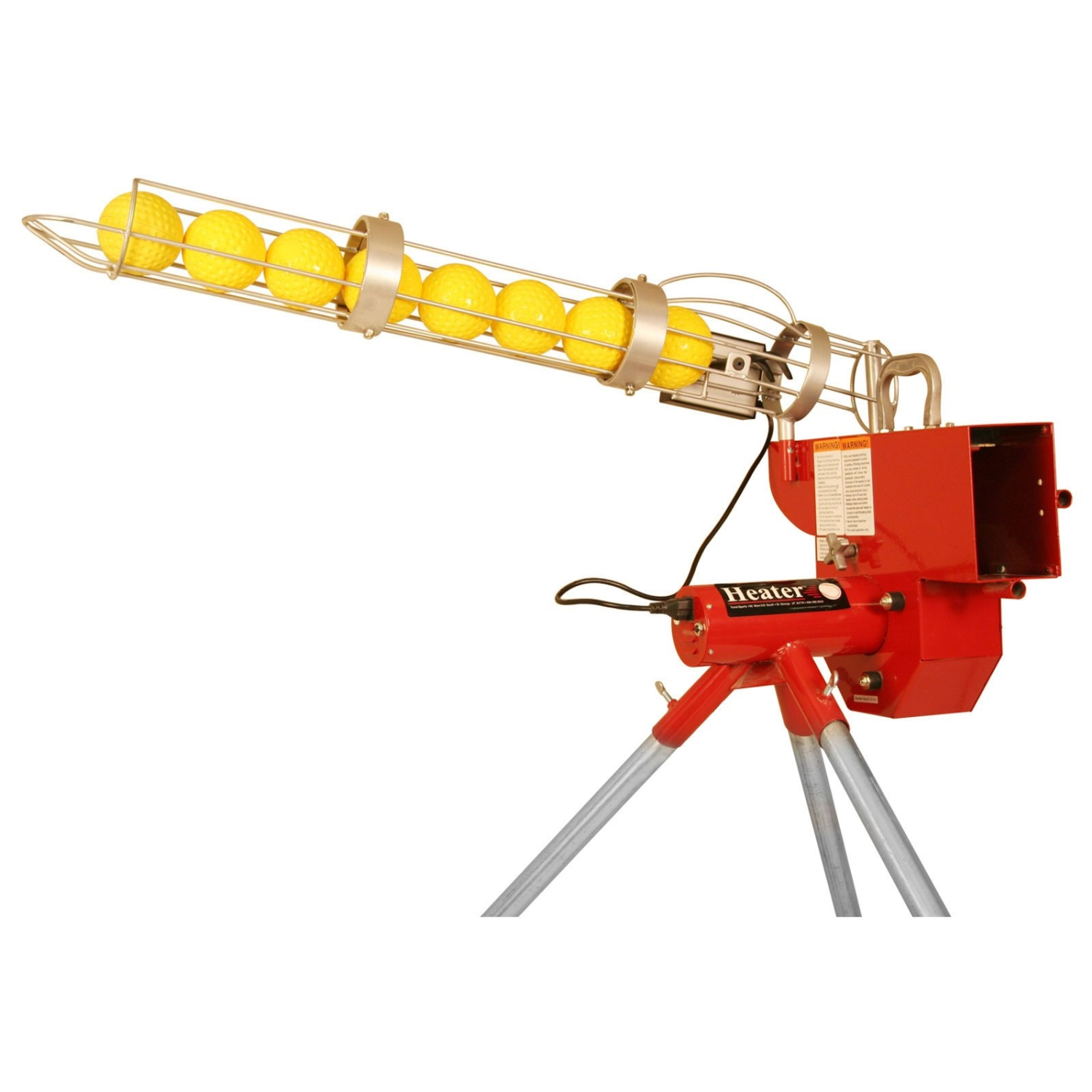 Packaging or Promotional image for Heater Softball Pitching Machine with Ball Feeder