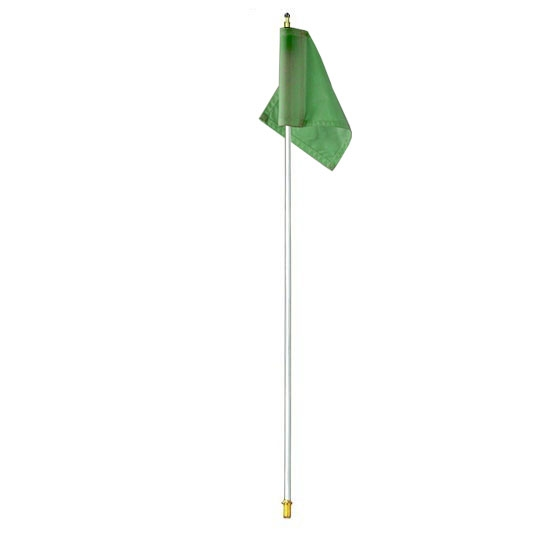 Packaging or Promotional image for 7.5' White Flagpole with Green Nylon Flag