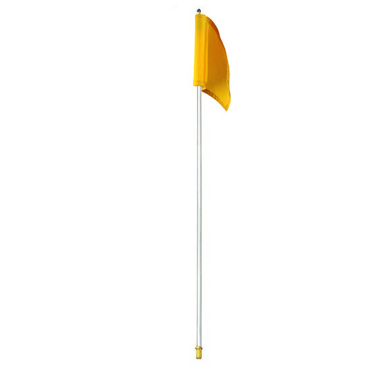 Packaging or Promotional image for 7.5' White Flagpole with Yellow Nylon Flag