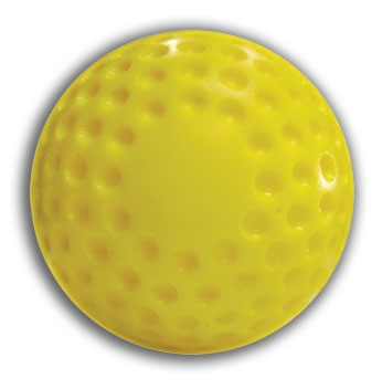 Packaging or Promotional image for Cimarron Dimpled Yellow 12'' Softballs - Dozen