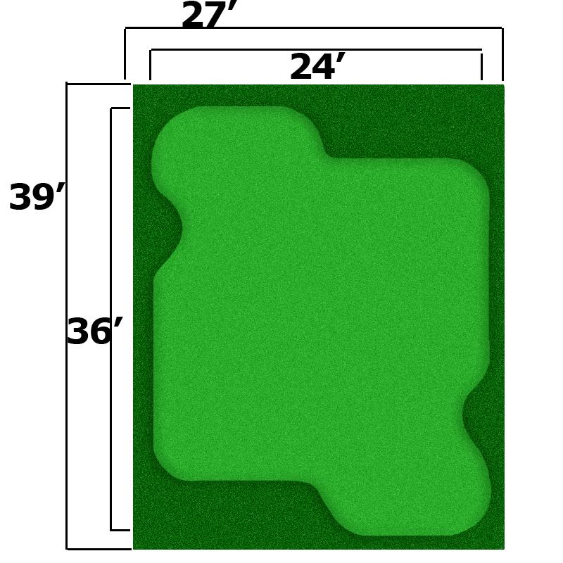 Packaging or Promotional image for 27' x 39' Complete Par Saver Putting Green w/ Symbior Fringe
