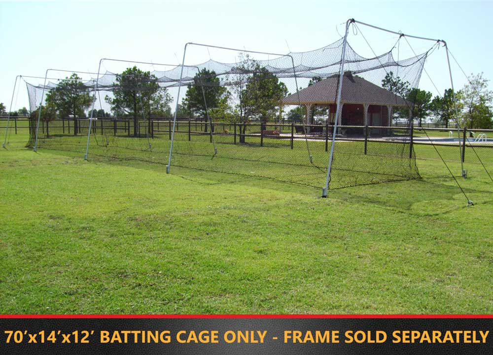 Packaging or Promotional image for Cimarron 3.0mm 70' x 14' x 12' Braided Batting Cage Net