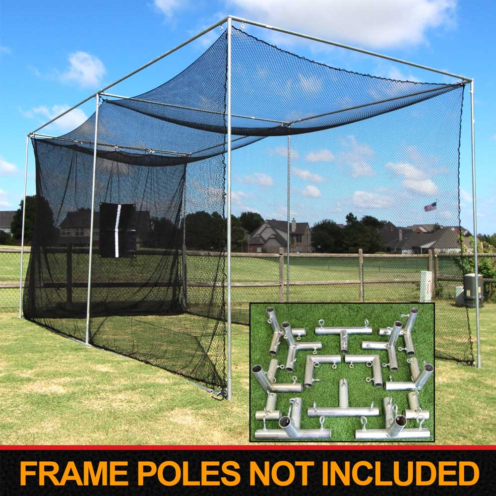 Packaging or Promotional image for Cimarron 20'x10'x10' Masters Golf Net with Frame Corners