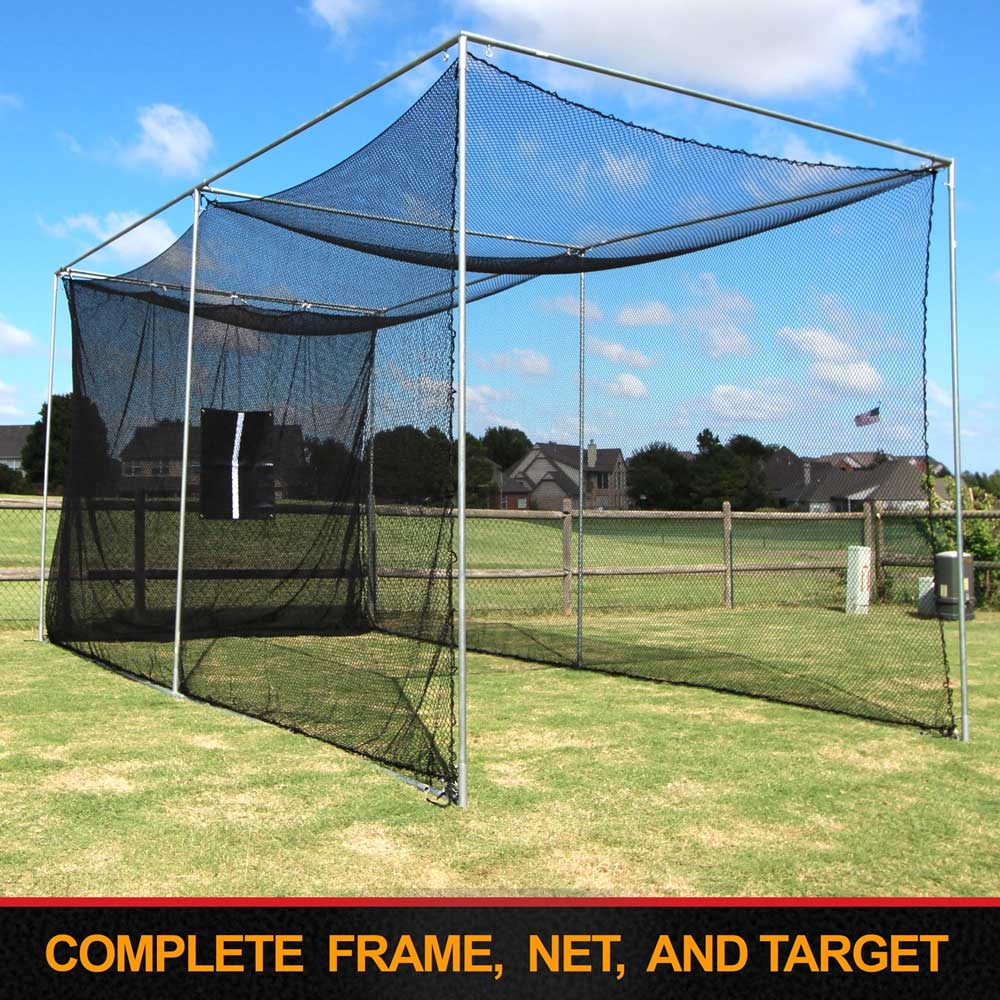 Packaging or Promotional image for Cimarron 20'x10'x10' Masters Golf Net with Complete Frame