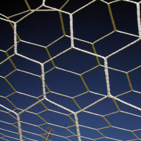 Packaging or Promotional image for 8'H x 24'W x4'D x10'B - Hexagonal 5mm Braided Soccer Net