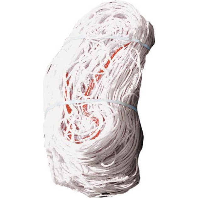 Packaging or Promotional image for 8'H x 24'W - 3mm Flat Twisted Soccer Net - White (1 Net)