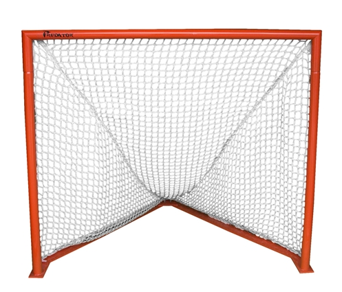 Packaging or Promotional image for Predator Deluxe Box Lacrosse Goal with 7mm White Net