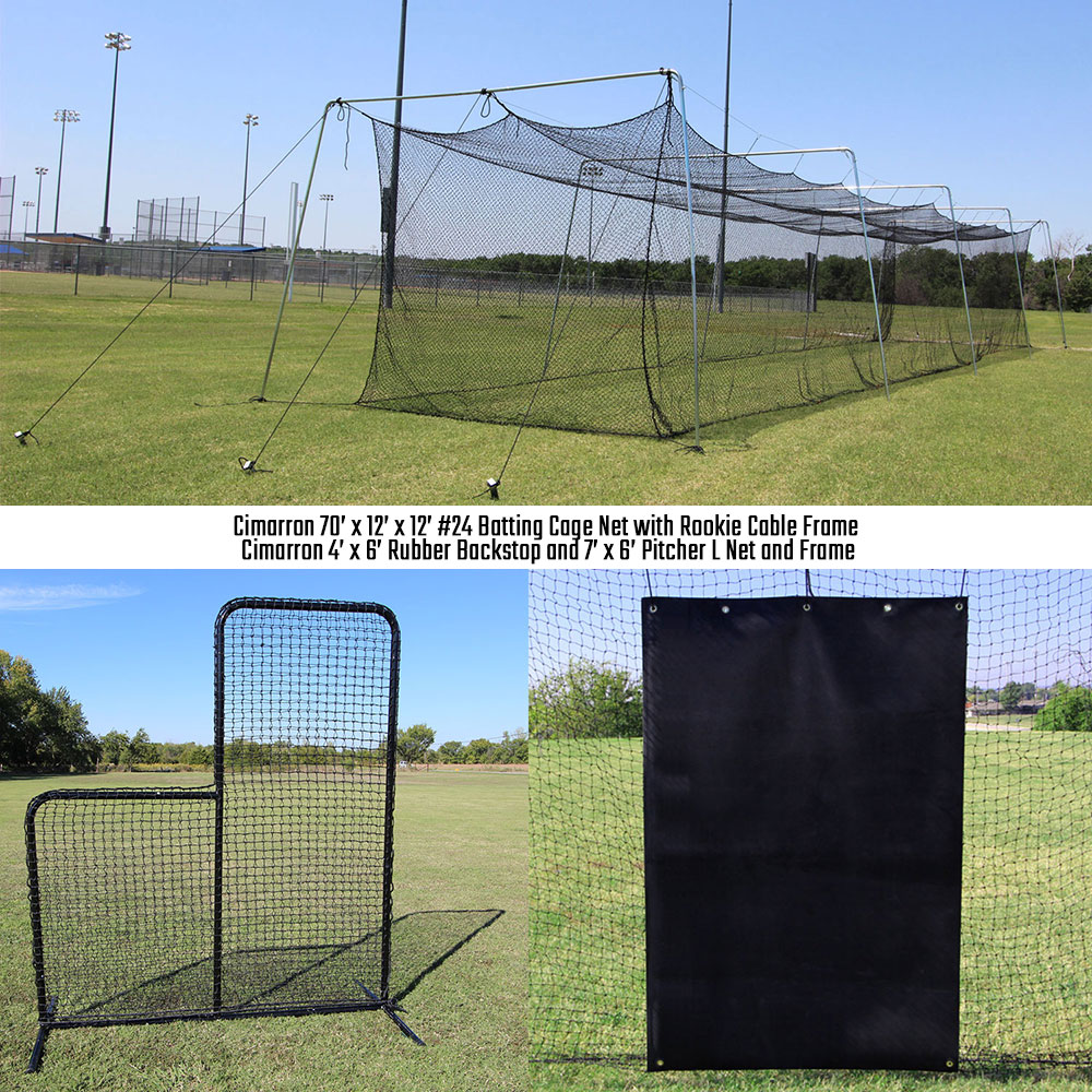 Packaging or Promotional image for Cimarron 70' Rookie Backyard Batting Cage Bundle