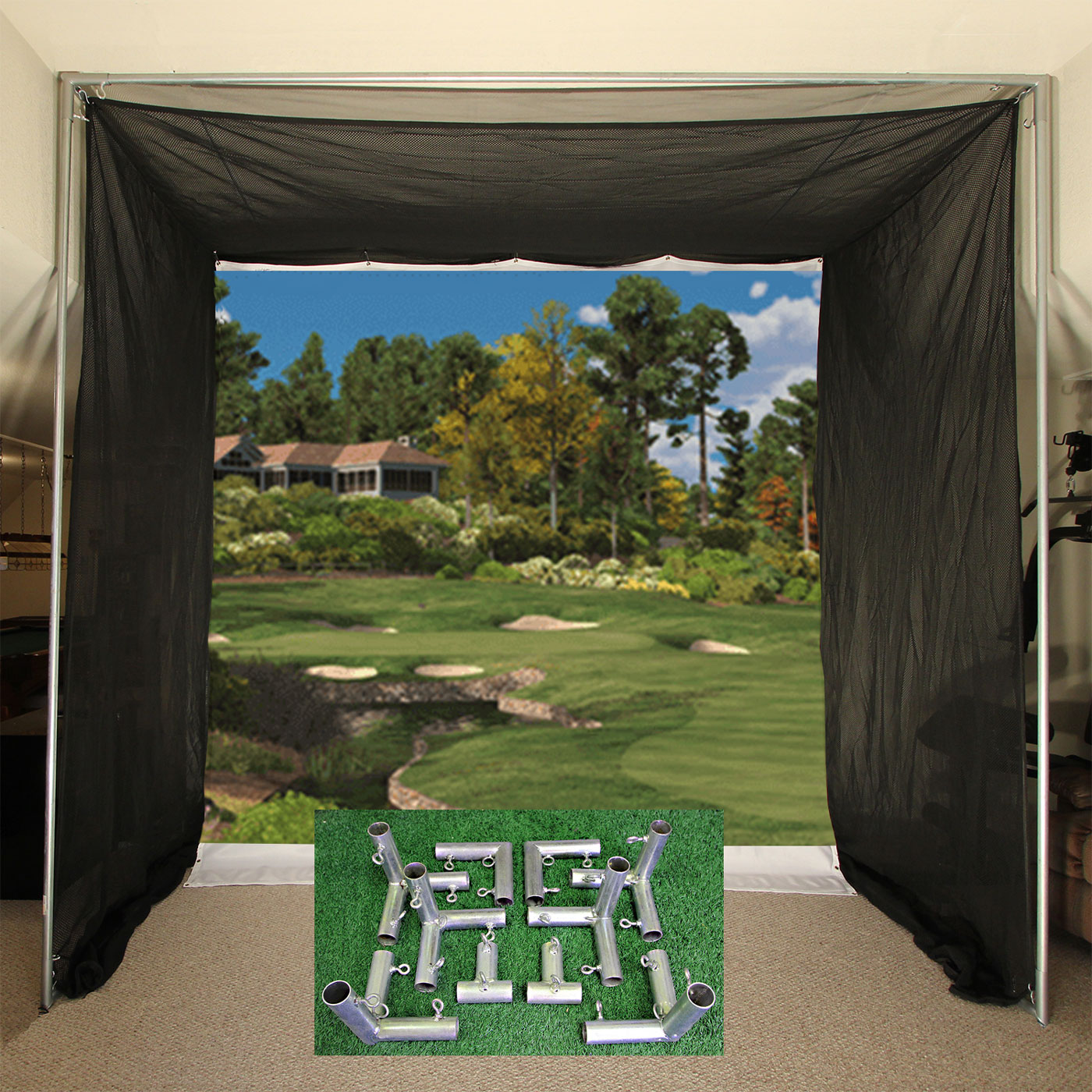 Packaging or Promotional image for Cimarron 5x10x10 Tour Simulator Archery Golf Net with Frame Kit
