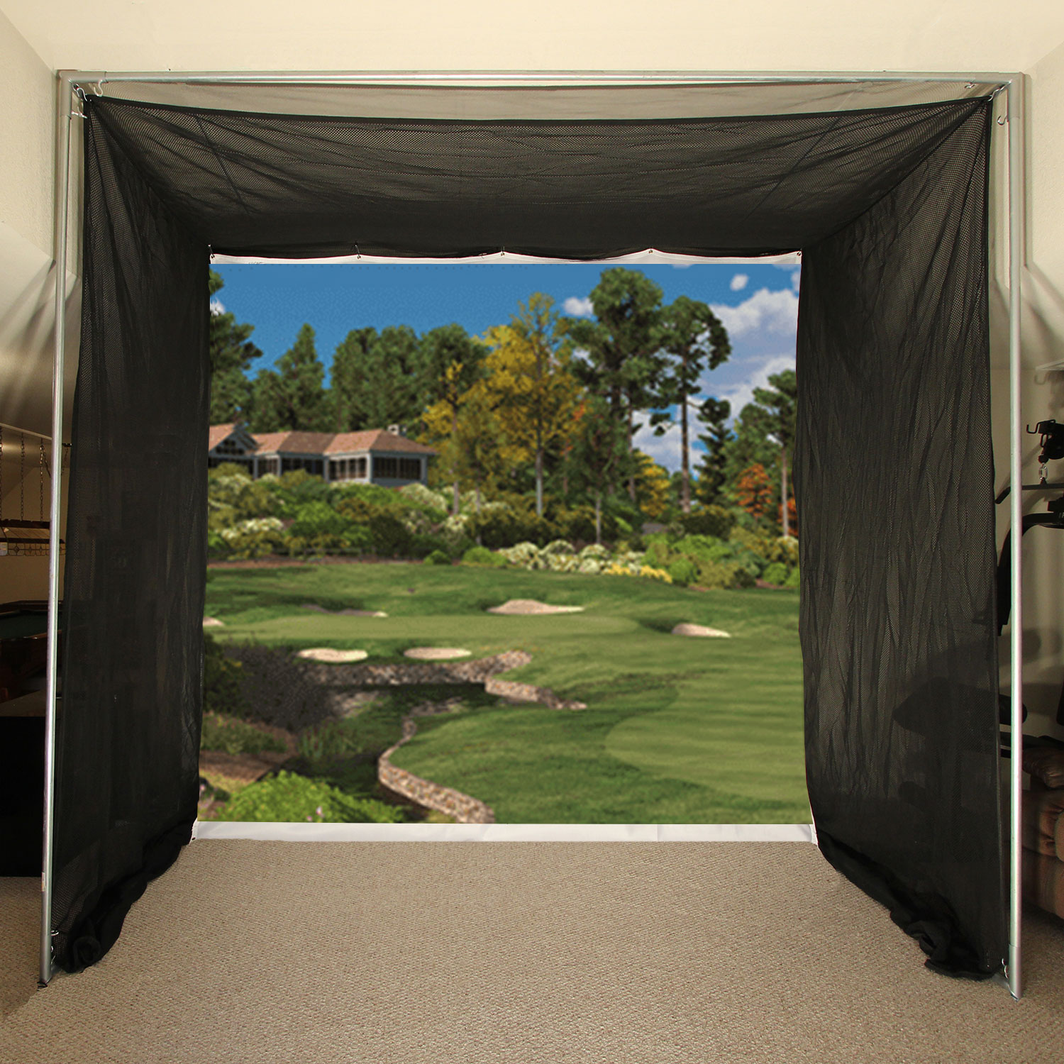 Packaging or Promotional image for Cimarron 5x10x10 Tour Simulator Archery Golf Net with Complete Frame