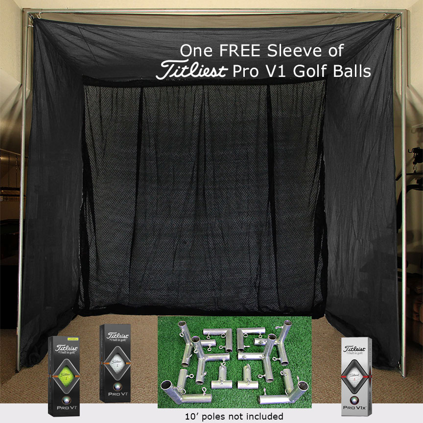 Packaging or Promotional image for Cimarron 5x10x10 Clubhouse Archery Golf Net, Kit and FREE sleeve of ProV1 Golf Balls