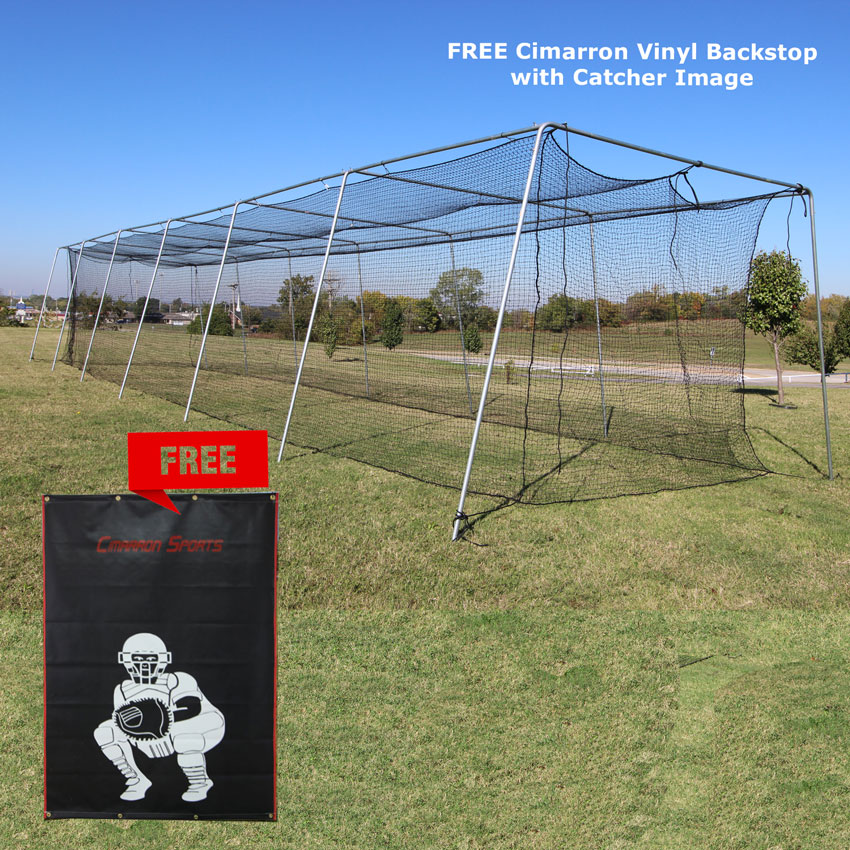 Packaging or Promotional image for Cimarron #24 70x14x12 Twisted Poly Batting Cage Net with FREE Backstop